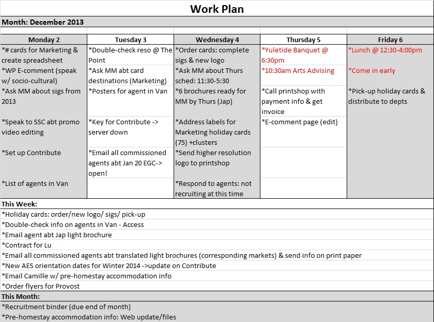 Sample Work Plans | Kate Kim